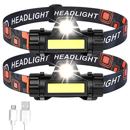 (2-Packs) USB Rechargeable Headlamp,Super Bright & Lightweight,Adjustable Beam, Angle & Strap Head Lamp,Waterproof Headlight Flashlight for Night Outdoor,Running,Fishing,Camping,Hiking,Cycling,Kids thumbnail