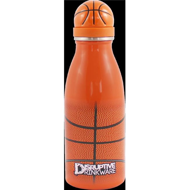 Disruptive Drinkware HY-SP12-BKB Basketball Hydration Sports Bottle & Double Wall Stainless Steel - 12 oz
