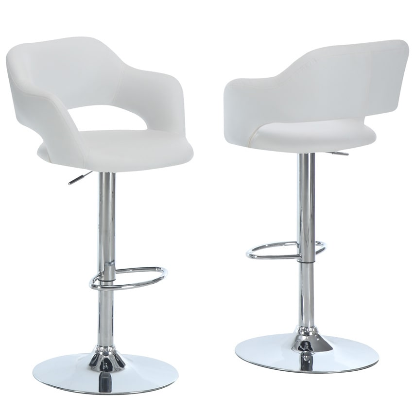 monarch metal chrome white hydraulic lift bar stool