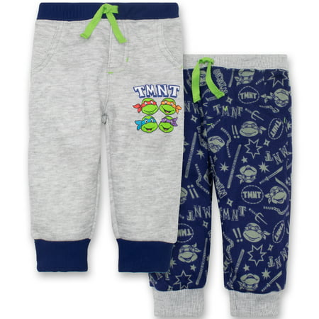 Nickelodeon Ninja Turtles Baby Boys' 2 Pack Fleece Drawstring Jogger Pants, Grey and Blue 0-3 Months