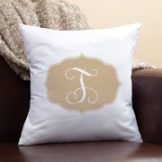 Personalized My Beige Initial Pillow