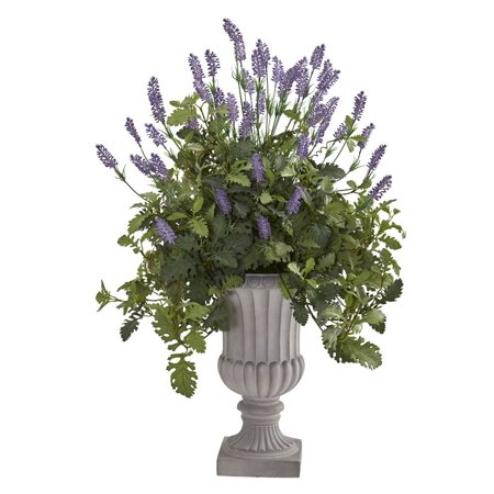"Image of 35"" Lavender and Dusty Miller Artificial Plant in Urn"