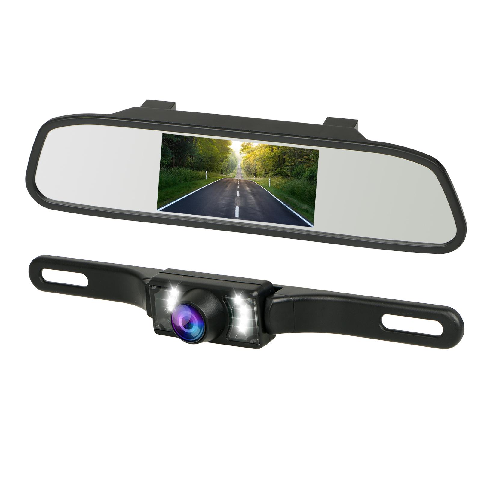 Car Rear View Camera Night Vision Parking System Kit, Universal Waterproof Rear-view License Plate Backup Camera + 4.3 Inch TFT LCD Adjustable Rear View Monitor