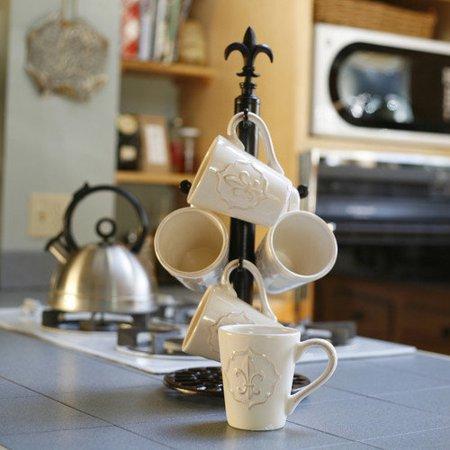 Mesa home fleur de lis finial mug tree for Ikea coffee cup holder