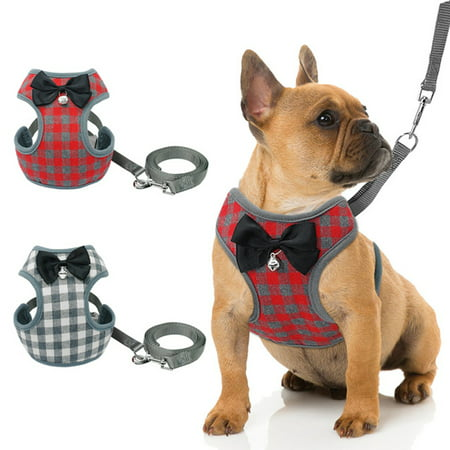 Dog Harness Leash Set Pet Cat Vest Harness with Bowknot for Small Puppy Dogs Chihuahua Yorkies Pug Red grid