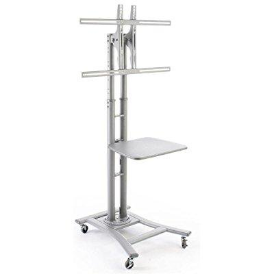 Locking Stand - portable flat screen tv stand for 32 to 70 monitors has locking castors and optional shelf - silver