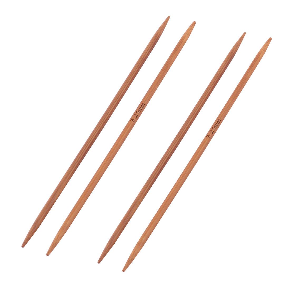 Bamboo Sewing Knitting Tatting Hat Socks Golves Needles Brown 3.25mm Dia 4pcs