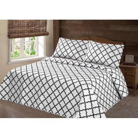 Oriental Persian Quilt (PERSIAN EYGYPTION COLLECTION QUEEN LANCASTER GEOMETRIC WHITE GRAY CLOSOUT QUILT BEDDING BEDSPREAD COVERLET PILLOW CASES SET )