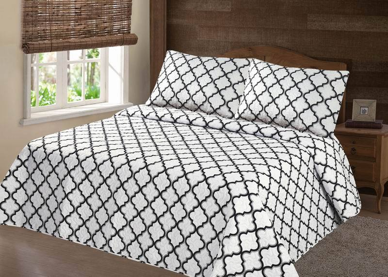 midwest modren count microfiber soft touch king lancaster geometric white gray closout quilt bedding bedspread
