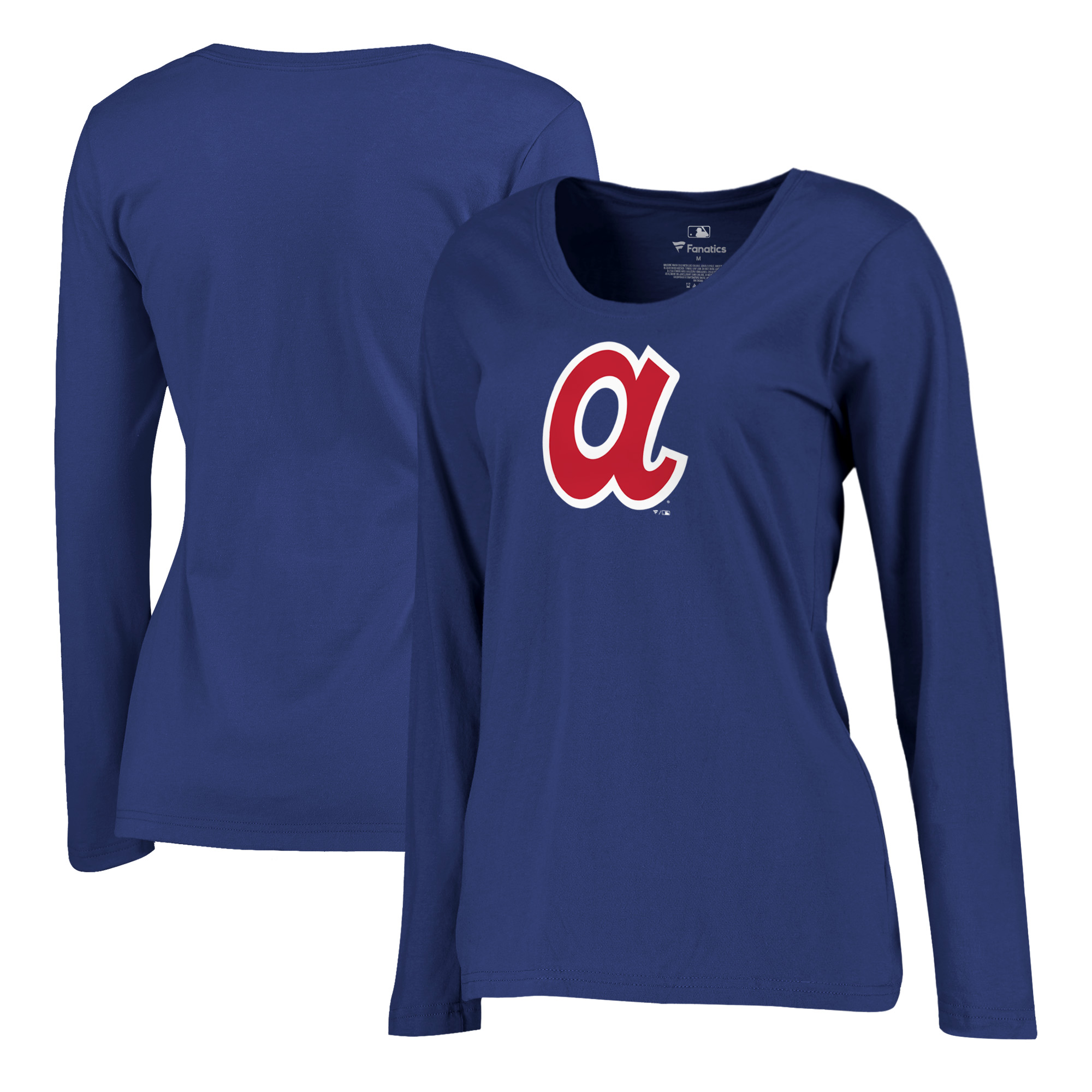 Atlanta Braves Fanatics Branded Women's Plus Size Cooperstown Collection Huntington Long Sleeve T-Shirt - Royal