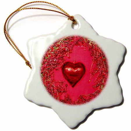 3dRose Red Valentine Heart and Wreath - Snowflake Ornament, 3-inch - Valentine Wreath