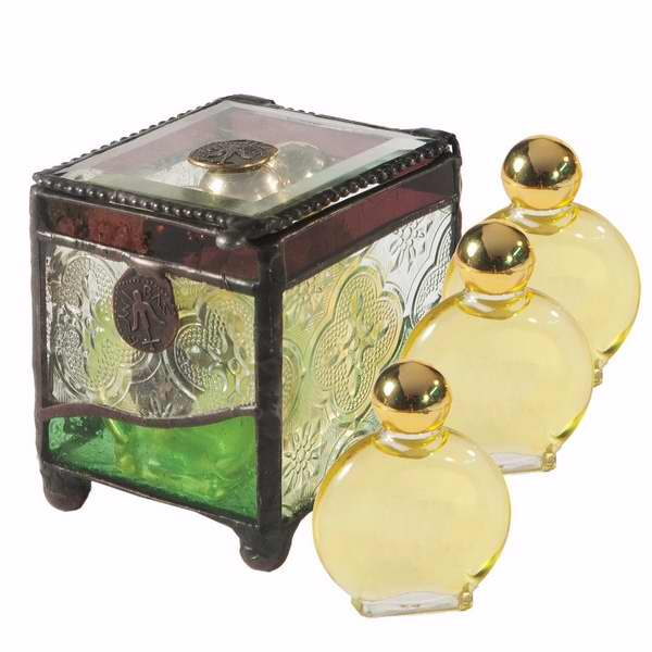 Anointing Oil-Stained Glass Box W/3 Oils