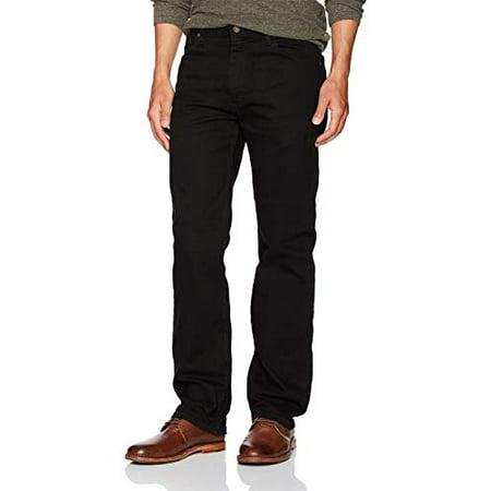 Wrangler Authentics Men's Regular Fit Comfort Flex Waist Jean, Black, 38W x 29L