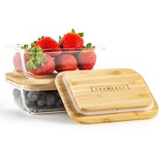 Glass Food Storage Container with Eco-Friendly, Plastic Free Bamboo Lid (Set of Two - 370 ml) by Gramercy Kitchen BPA Free Bento Box. Sustainable Meal Prep Container