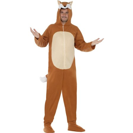 Men's All In One Zoo Animal Fox Zip Up Costume With Hood Large 42-44