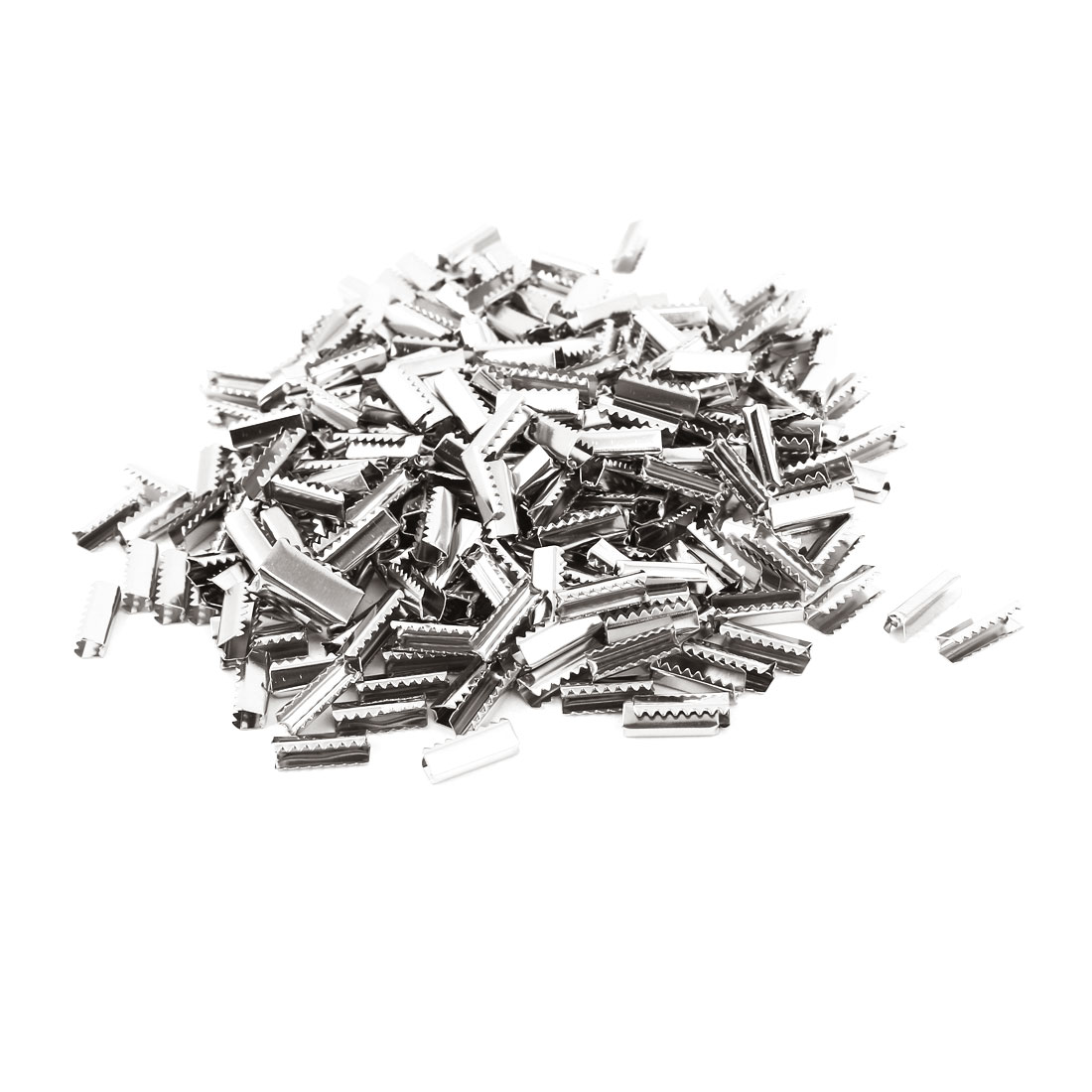 Metal DIY Ribbon Cord Clamp Ends Crimp Clip Beads Connector Silver Tone 500Pcs