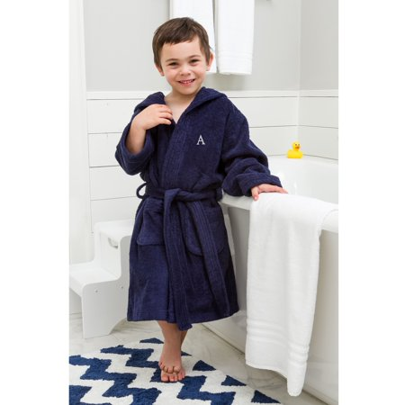 Linum Home Sweet Kids Turkish Cotton Terry Midnight Blue with Grey Block Monogram Hooded Bathrobe - Kids Bathrobe