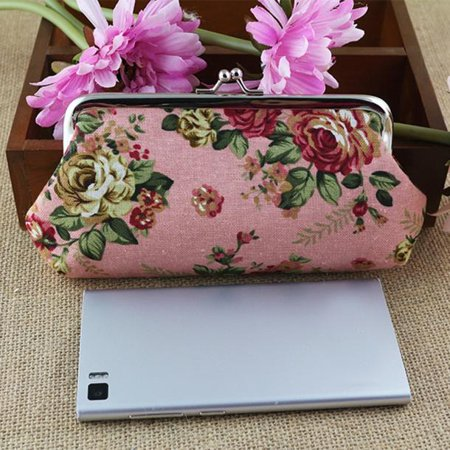 Women Lady Retro Vintage Flower Small Wallet Hasp Purse Clutch Bag PK