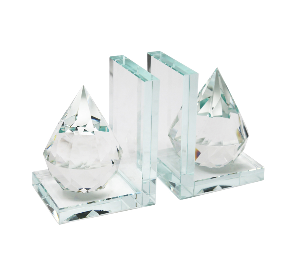 Beautiful Natural Crystal Diamond Bookends, Clear, Set Of 2 by Benzara