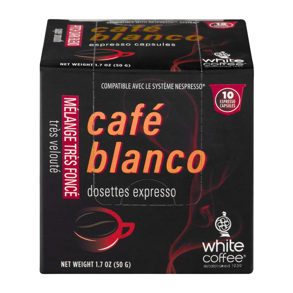Cafe Blanco Pitch Dark Blend Espresso Capsules 10 CT by White Coffee Corporation