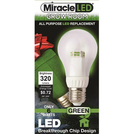 Miracle LED 605063 7-Watt A19 Grow Room Specialty Light Green LED Bulb Omni directional