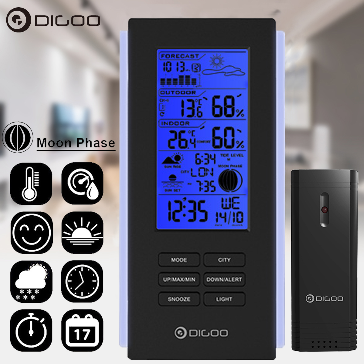 Digoo Wireless Weather Forecast Station Calendar Snooze Alarm Clock Indoor Outdoor Thermometer Hydrometer... by