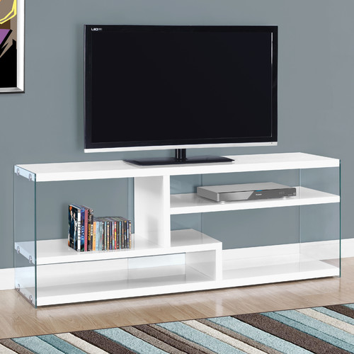 "MONARCH - TV STAND - GLOSSY WHITE WITH TEMPERED GLASS - FOR TV'S UP TO 60""L"