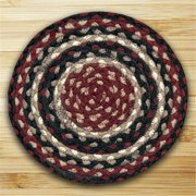 Earth Rugs 46-344 Round Miniature Swatch, Burgundy, Black and Tan
