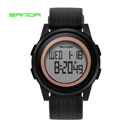 SANDA 337 Ultra-thin 9mm Sport Watch Men Electronic LED Digital Wrist Watches Waterproof Clock Calendar Watch for Male - Good Witch Halloween Watch