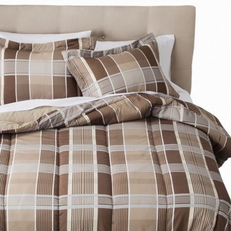 Room Essentials Twin Bed In Bag Brown Tan Plaid Comforter