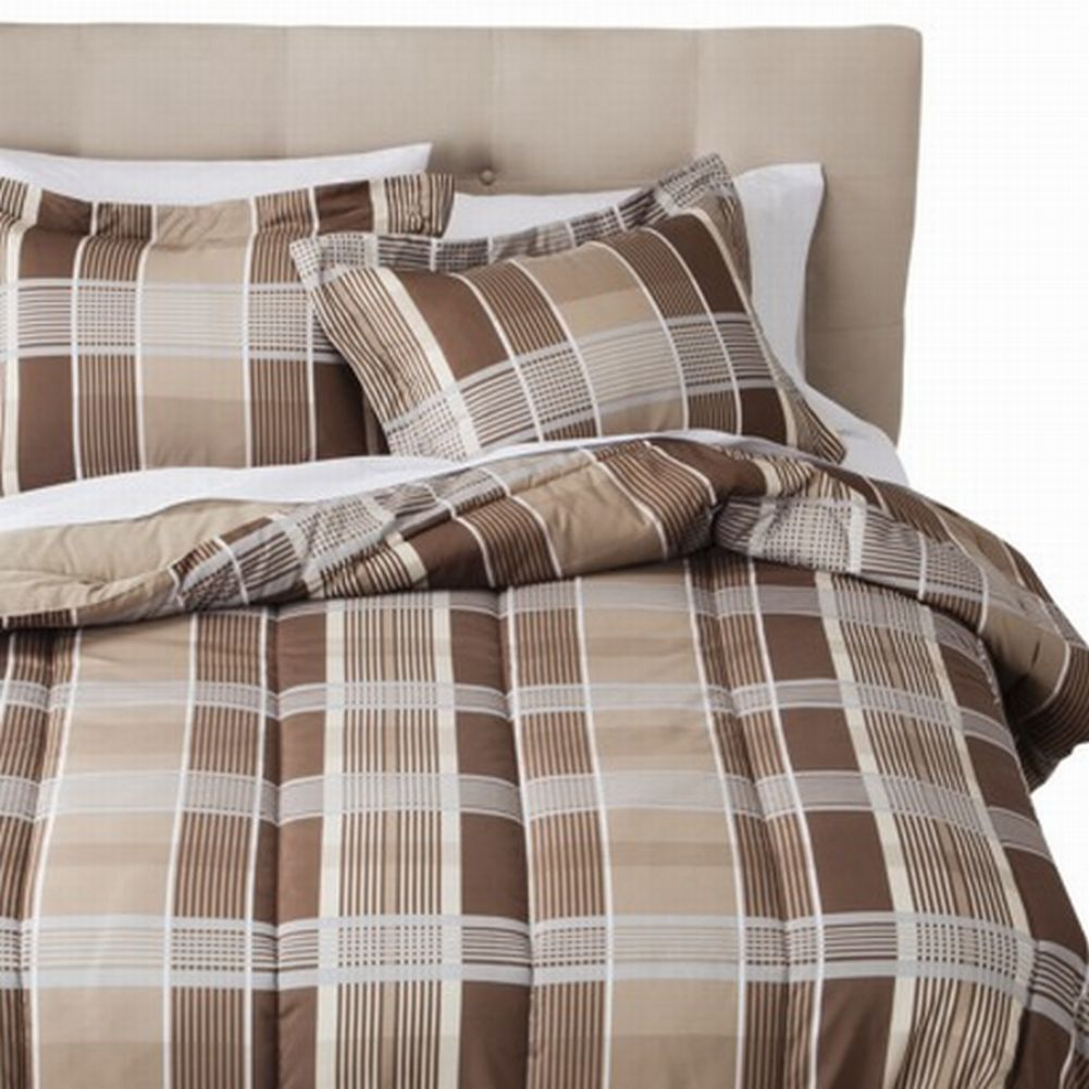 Room Essentials Twin Bed in Bag Brown Tan Plaid Comforter Set Sheets Sham 6 pc