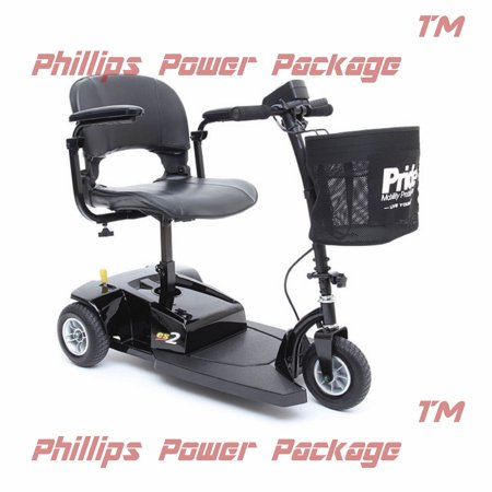 Pride Mobility - Go-Go ES2 - Lightweight Travel Scooter - 3-Wheel - Black - PHILLIPS POWER PACKAGE TM