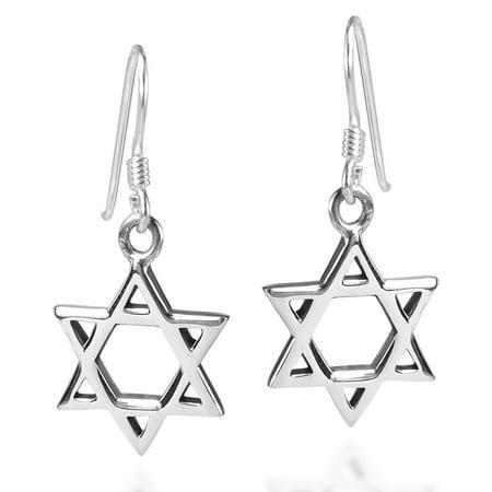 Mystical Star of David .925 Sterling Silver Fish Hook Earrings