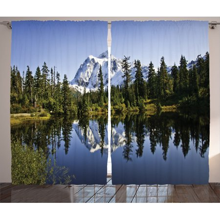 Lake House Decor Curtains 2 Panels Set, Fall Colored Trees And Snowy Mountain Landscape With Crystal Lake Nature Photo, Living Room Bedroom Accessories, By - Best Buy Crystal Lake