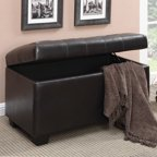 Armen Living Victoria Ottoman Brown Bonded Leather