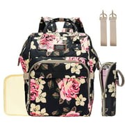 Diaper Bag Backpack Floral Baby Bag Water-resistant Baby Nappy Bag With Insulated Water Bottle Bag/Changing Pad