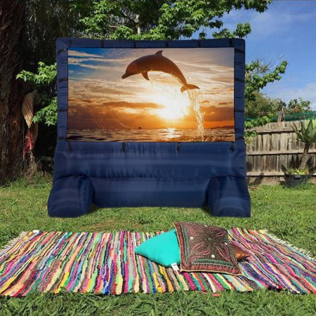 Large Home Decor Screen 12' Widescreen Home House Family Airblown Inflatable Deluxe Movie Screen Home Party Meeting Backyard (Outdoor Inflatable Screen)