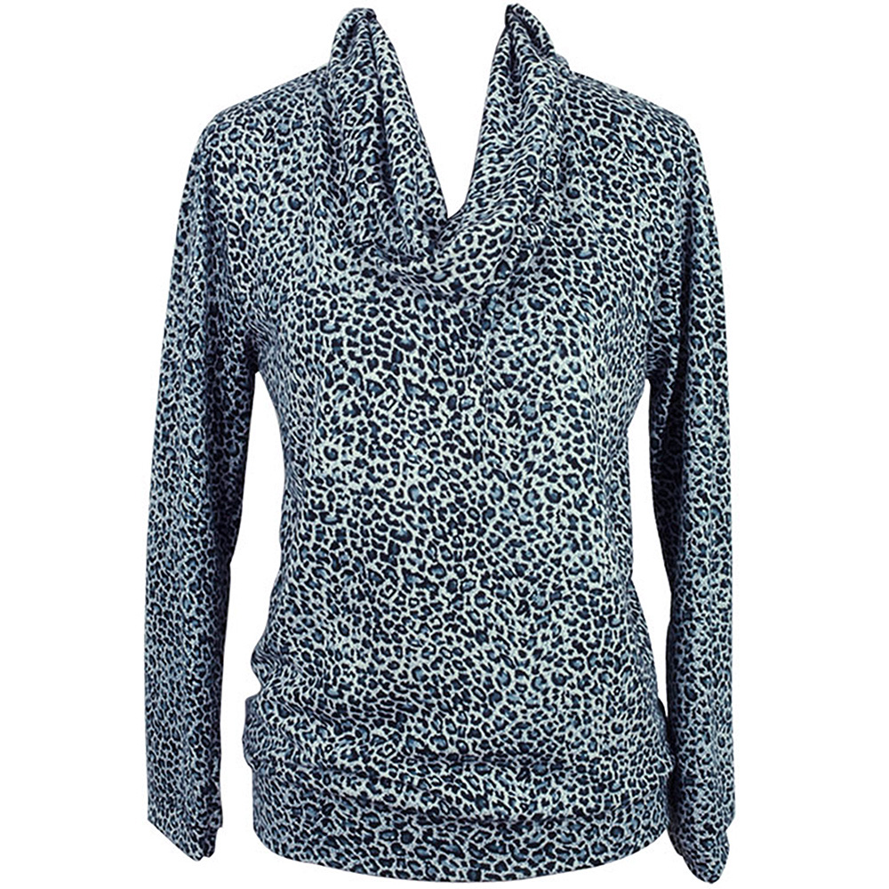Luxury Divas Gray Cheetah Print Long Sleeve Cowl Neck Blouse Top