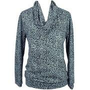 Gray Cheetah Print Long Sleeve Cowl Neck Blouse Top Size Medium