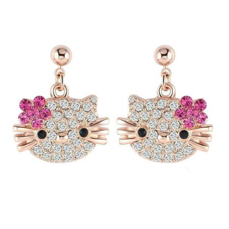 Hello Kitty Design Heavy Silver Plated Crystal Dangle Girl Woman Earrings, - Crystal Cross Dangle
