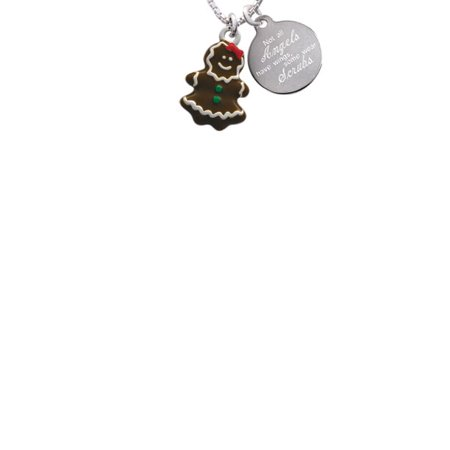 Enamel Gingerbread Girl Not All Angels Have Wings Some Wear Scrubs Engraved Necklace