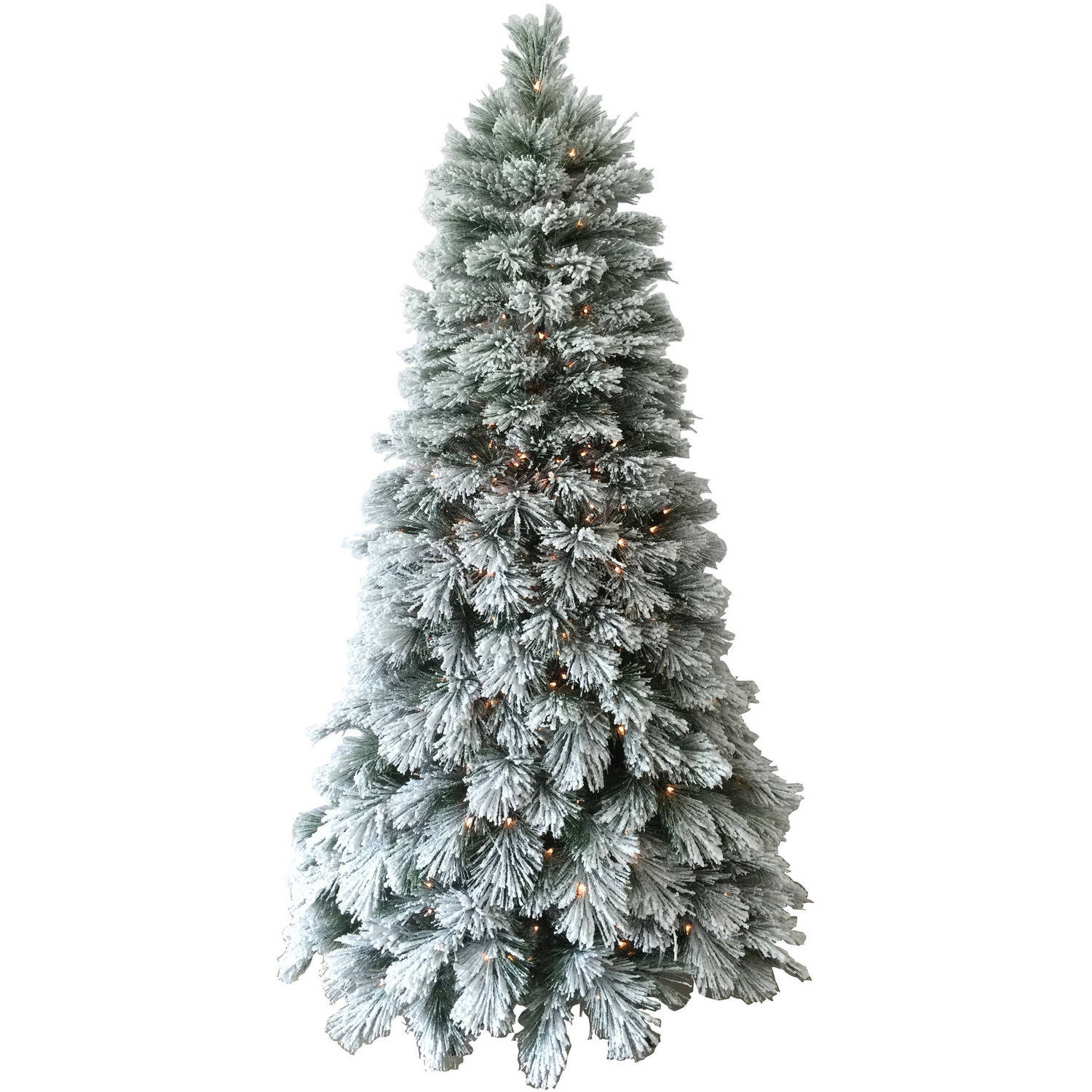 holiday time artificial christmas trees pre lit 75 flocked artificial tree clear lights walmartcom - Walmart Christmas Tree Prices