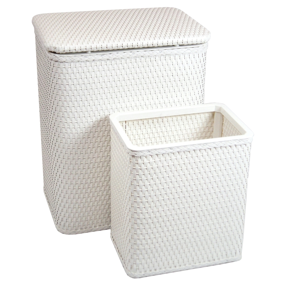 Redmon Chelsea Pattern Wicker Nursery Hamper and Matching Wastebasket Set, White