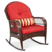 Best Choice Products Outdoor Wicker Patio Rocking Chair w/ Weather-Resistant Cushions and Steel Frame, Red