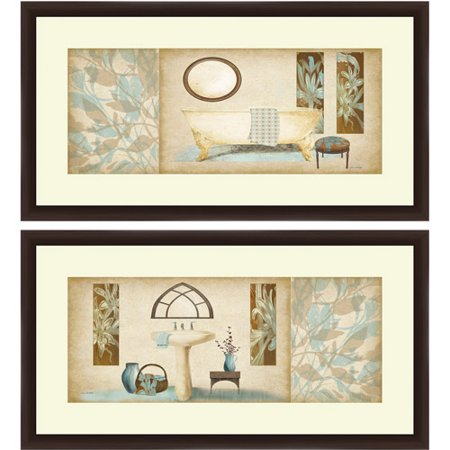 brown and blue bath wall art
