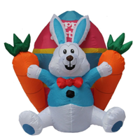 Impact Canopy Inflatable Outdoor Easter Decoration, Easter Bunny, Egg, and Carrots, 4 Feet Tall