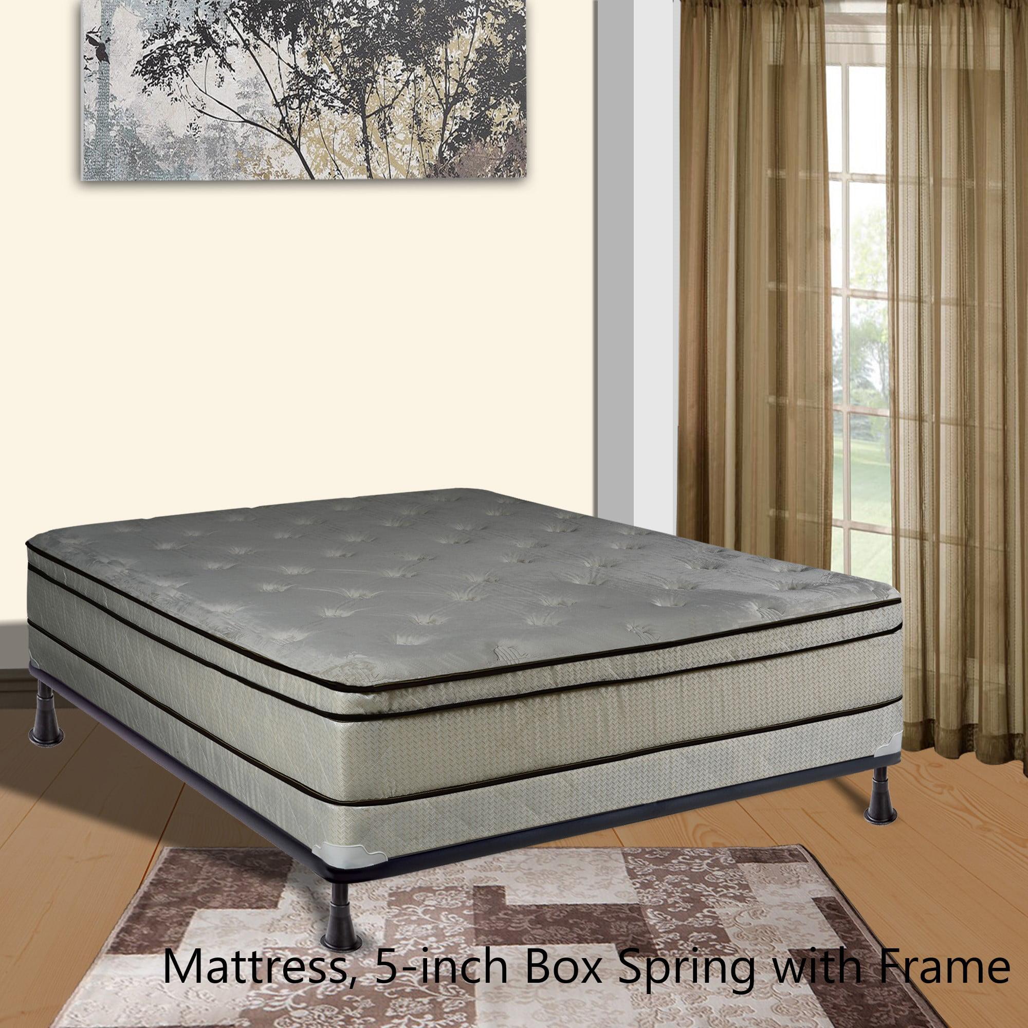 "Continental Sleep, 11-inch Fully Assembled FOAM ENCASED Innerspring Heavy plush Teddy Bear Fabric Mattress and 4"" Semi Flex Box Spring with Frame, Twin Size"