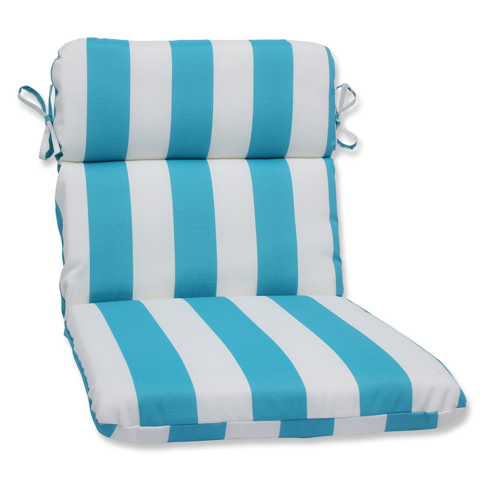 Pillow Perfect Outdoor/ Indoor Cabana Stripe Turquoise Rounded Corners Chair Cushion