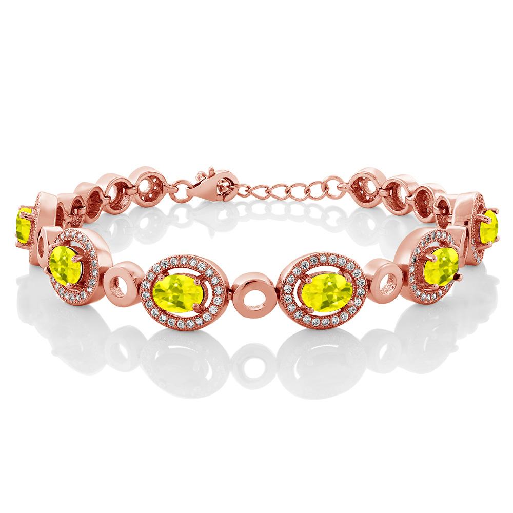 6.72 Ct Oval Canary Mystic Topaz 18K Rose Gold Plated Silver Bracelet by