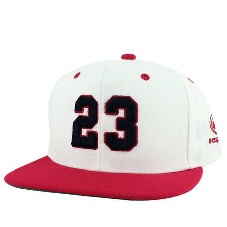 CapRobot Player Jersey Number #23 2Tone Snapback Hat Cap x Air Jordan OG White Black Red